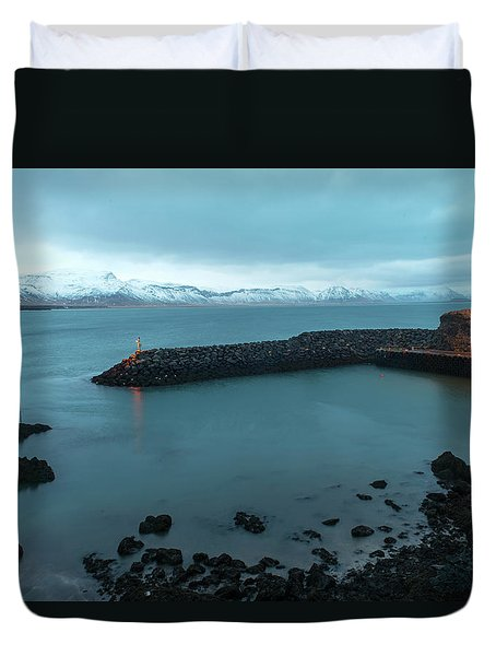 Duvet Cover featuring the photograph Small Port Near Snaefellsjokull Mountain, Iceland by Dubi Roman