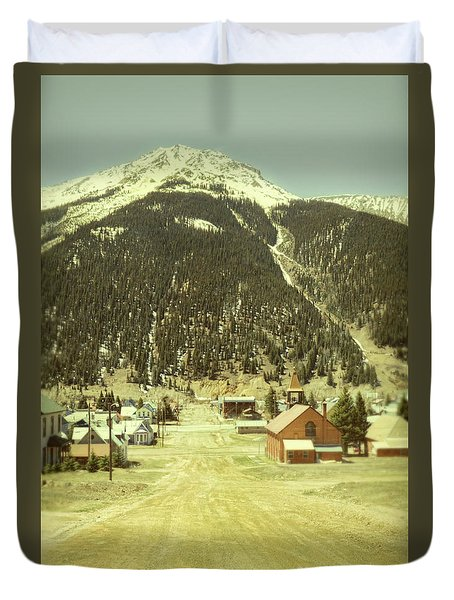Duvet Cover featuring the photograph Small Rocky Mountain Town by Jill Battaglia