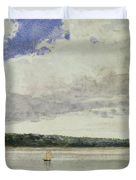 Small Sloop On Saco Bay Duvet Cover by Winslow Homer