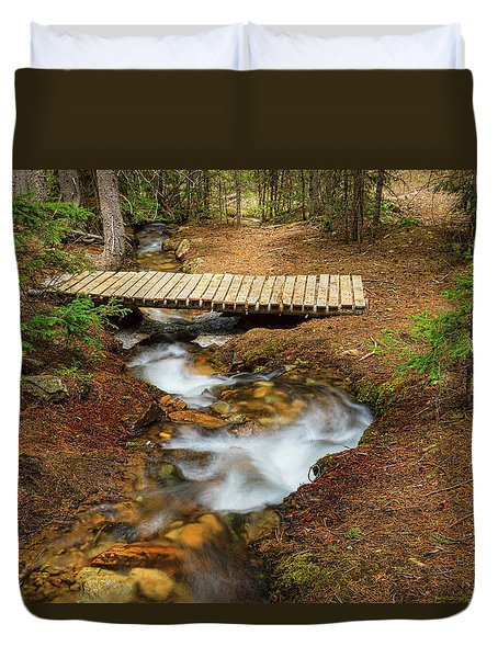 Duvet Cover featuring the photograph Small Stream Nature Walking Bridge by James BO Insogna