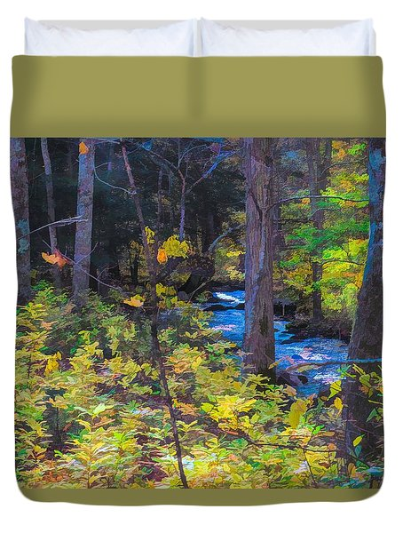 Small Stream Through Autumn Woods Duvet Cover