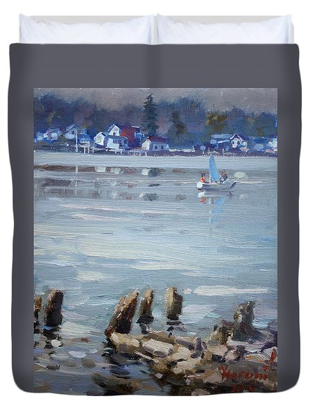 Small Town Across Niagara River Duvet Cover