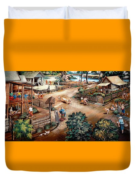 Small Town Community Duvet Cover