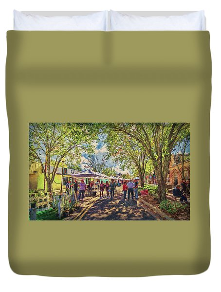 Duvet Cover featuring the photograph Small Town Festival by Lewis Mann