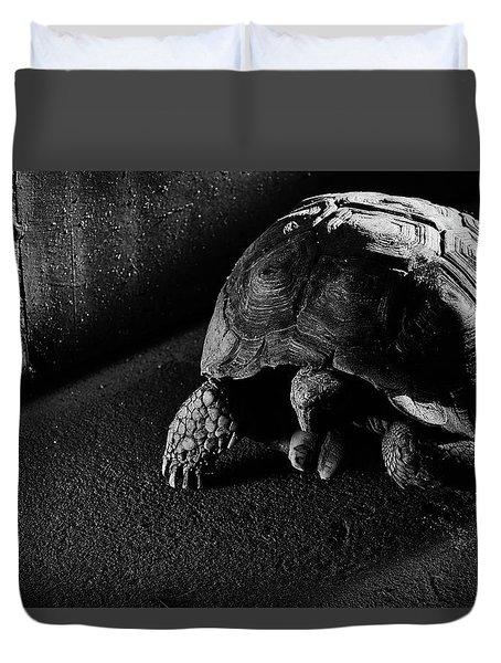 Duvet Cover featuring the photograph Small Turtle Exploring The Surroundings by Eduardo Jose Accorinti