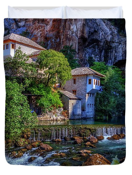 Small Village Blagaj On Buna Waterfall, Bosnia And Herzegovina Duvet Cover