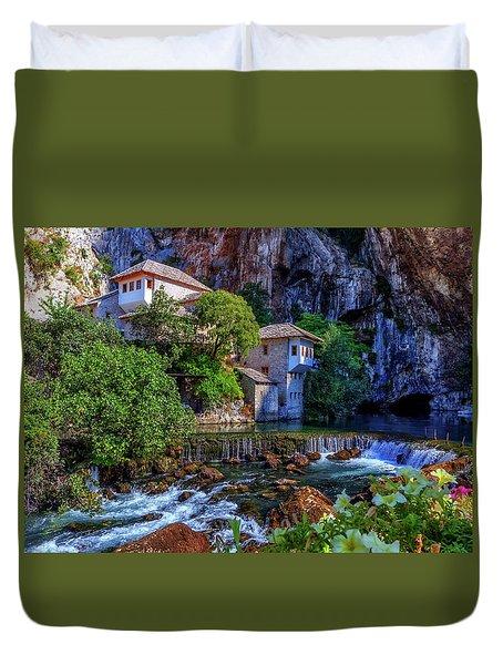 Small Village Blagaj On Buna Waterfall, Bosnia And Herzegovina Duvet Cover by Elenarts - Elena Duvernay photo
