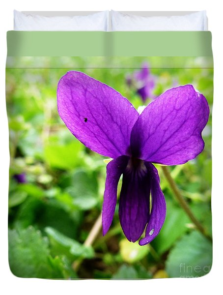 Small Violet Flower Duvet Cover by Jean Bernard Roussilhe