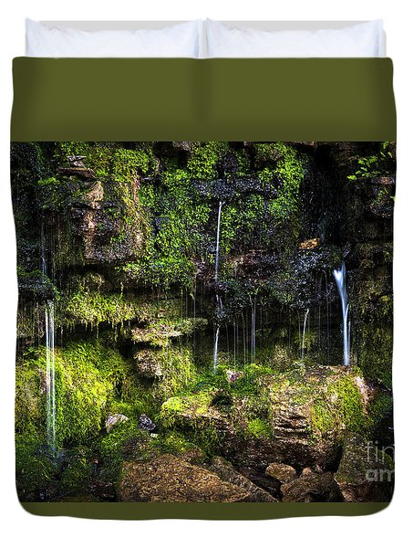 Duvet Cover featuring the photograph Small Waterfall by Elena Elisseeva