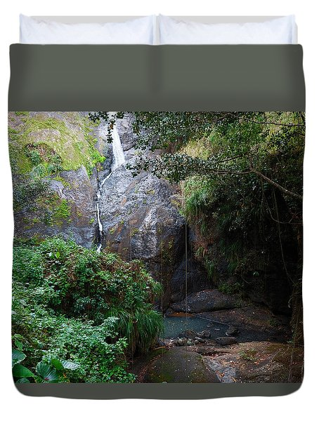 Duvet Cover featuring the photograph Small Waterfall by Ricardo J Ruiz de Porras