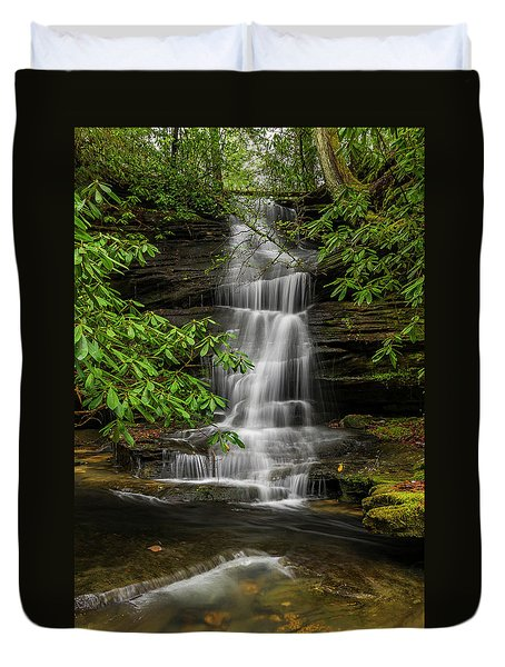 Small Waterfalls In The Forest. Duvet Cover by Ulrich Burkhalter