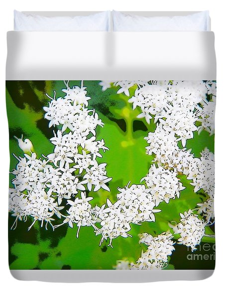 Small White Flowers Duvet Cover by Craig Walters