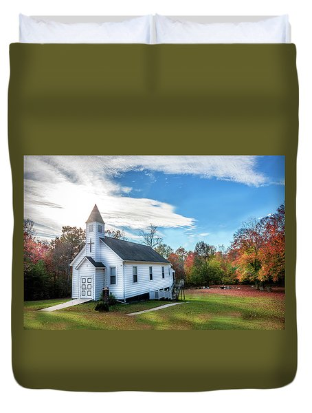 Small Wooden Church In The Countryside During Autumn Duvet Cover