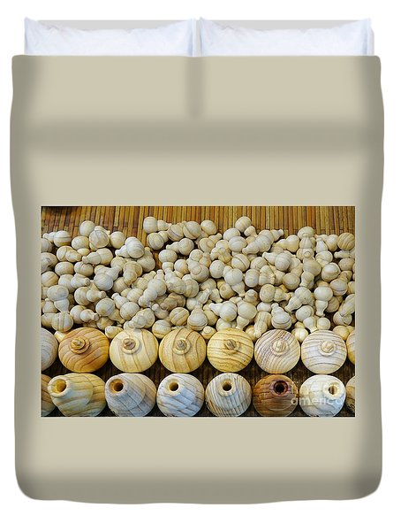 Small Wooden Flasks Duvet Cover by Yali Shi