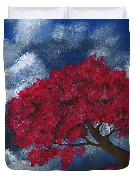 Duvet Cover featuring the painting Small World by Anastasiya Malakhova