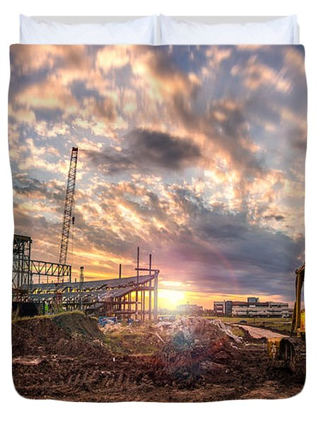 Duvet Cover featuring the photograph Smart Financial Centre Construction Sunset Sugar Land Texas 11 21 2015 by Micah Goff