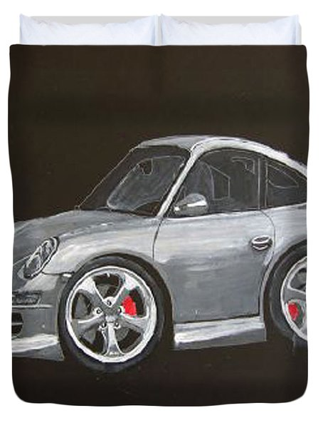 Duvet Cover featuring the painting Smart Porsche by Richard Le Page
