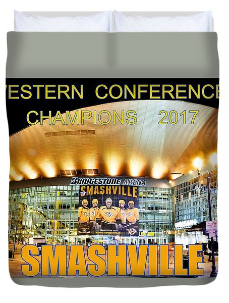 Duvet Cover featuring the photograph Smashville Western Conference Champions 2017 by Lisa Wooten