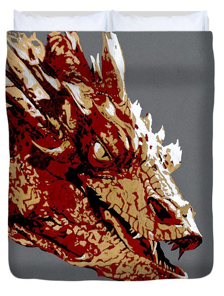 Smaug The Unassessably Wealthy Duvet Cover by Kayleigh Semeniuk