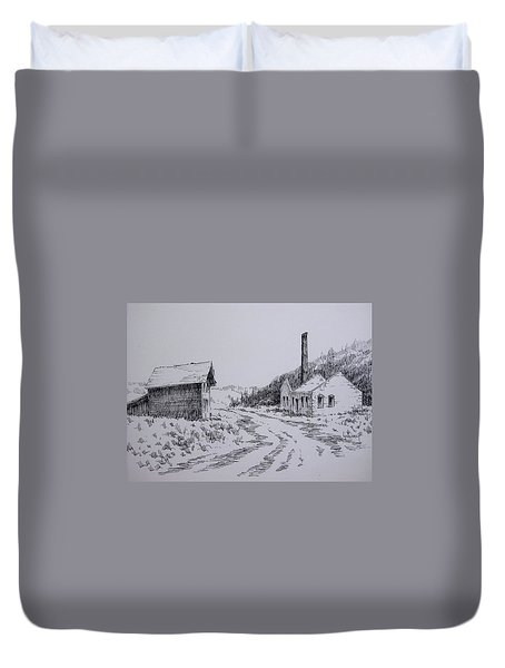 Smelter Ruins Glendale Ghost Town Montana Duvet Cover by Kevin Heaney