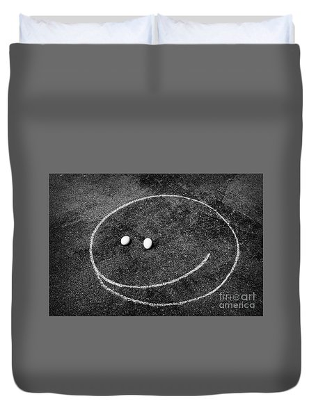 Smiley - Chalk N Eggs Duvet Cover by Aimelle