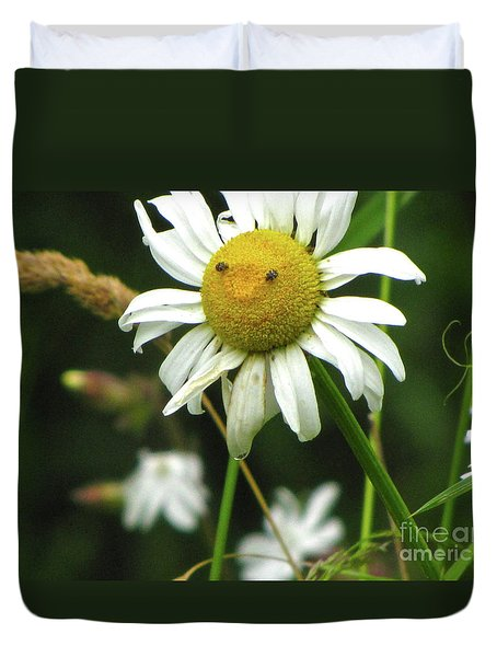 Smiley Face Ox-nose Daisy Duvet Cover by Sean Griffin
