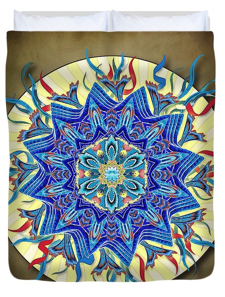 Smiling Blue Moon Mandala Duvet Cover