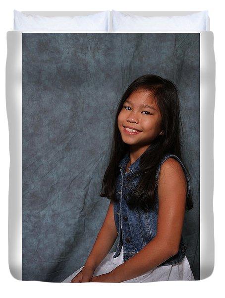Duvet Cover featuring the photograph Smiling Cutie by Robert Hebert
