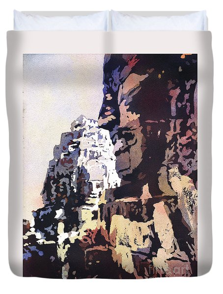 Duvet Cover featuring the painting Smiling Faces- Bayon Temple, Cambodia by Ryan Fox