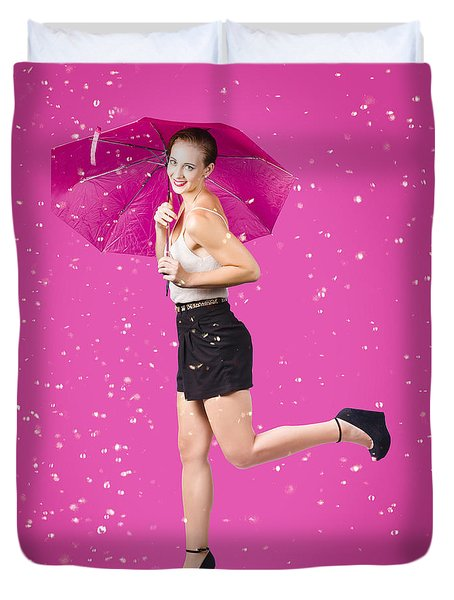 Smiling Female Model Dancing In Falling Rain Duvet Cover
