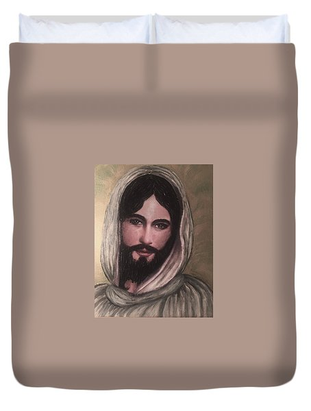 Smiling Jesus Duvet Cover by Cena Caterine