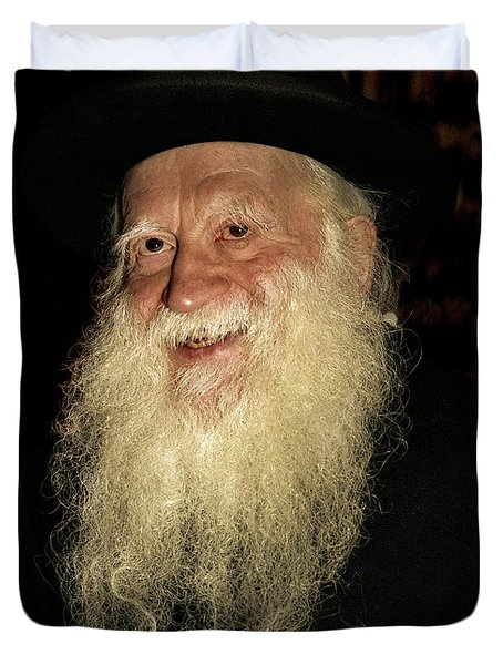 Duvet Cover featuring the photograph Smiling Picture Of Rabbi Yehuda Zev Segal by Doc Braham