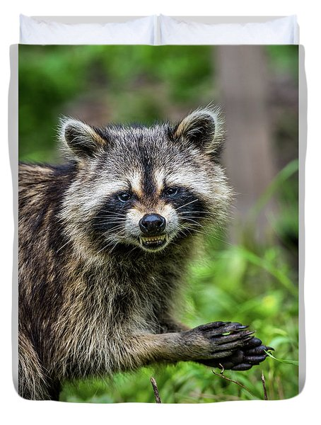 Smiling Raccoon Duvet Cover