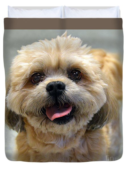 Smiling Shih Tzu Dog Duvet Cover by Catherine Sherman