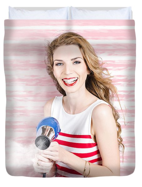 Smiling Stylist With Hair Dryer At Beauty Salon Duvet Cover