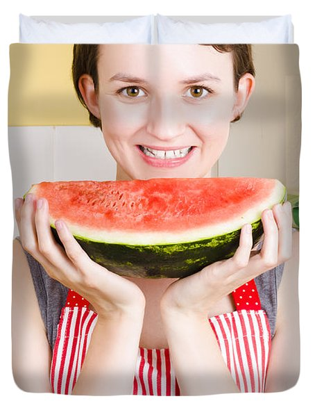 Smiling Young Woman Eating Fresh Fruit Watermelon Duvet Cover