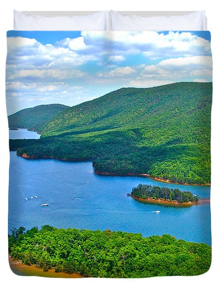 Smith Mountain Lake Poker Run Duvet Cover