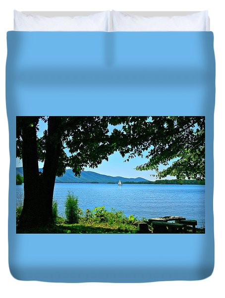 Smith Mountain Lake Sailor Duvet Cover by The American Shutterbug Society