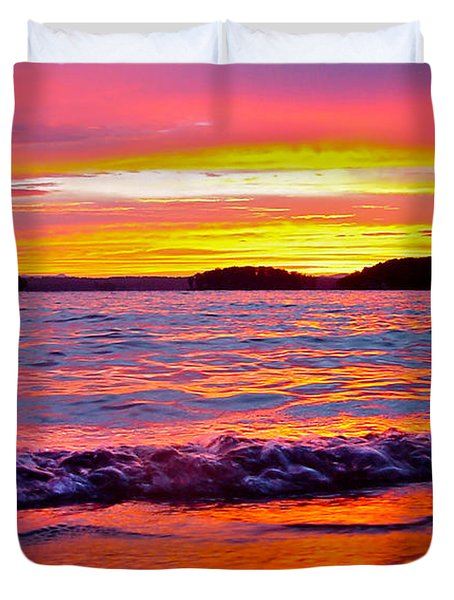 Smith Mountain Lake Surreal Sunset Duvet Cover