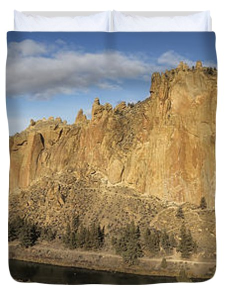 Smith Rock And Crooked River Panorama Duvet Cover