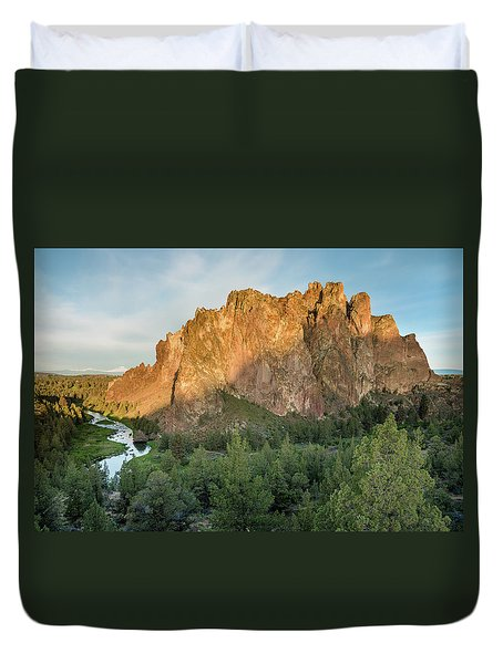 Duvet Cover featuring the photograph Smith Rock First Light by Greg Nyquist