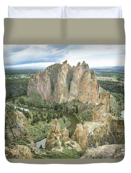 Smith Rock From Misery Ridge Duvet Cover