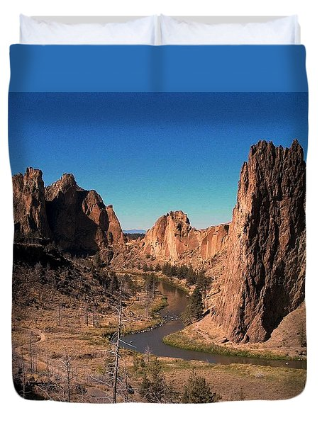 Smith Rock Duvet Cover by Lori Seaman