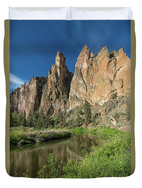 Duvet Cover featuring the photograph Smith Rock Spires by Greg Nyquist