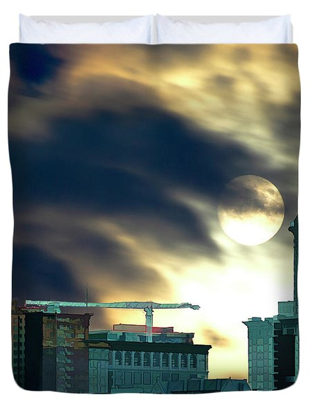 Duvet Cover featuring the photograph Smithtower Moon by Dale Stillman