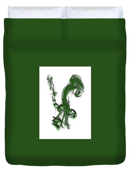 Smoke 01 - Green Duvet Cover