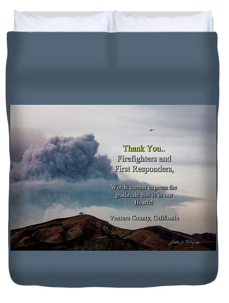 Smoke Cloud Over Two Trees Duvet Cover