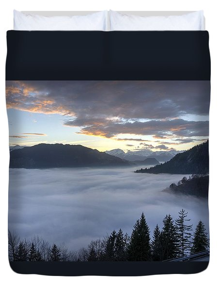 Duvet Cover featuring the photograph Smoke In The Valley Fire In The Sky by Peter Thoeny