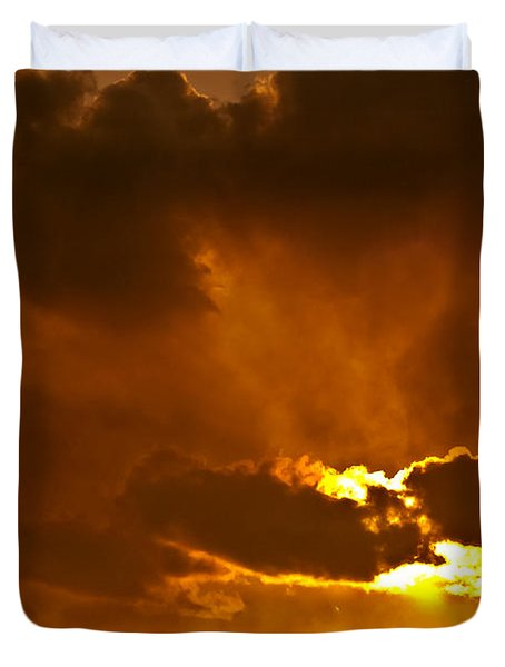 Smoke On The Horizon Duvet Cover by DigiArt Diaries by Vicky B Fuller