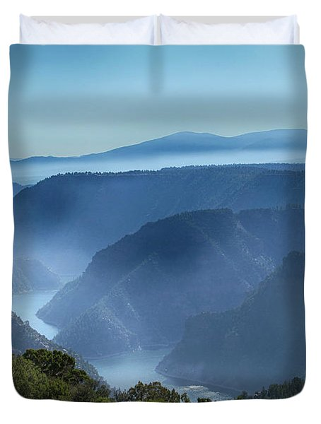 Smoke Over Flaming Gorge Duvet Cover